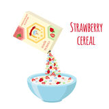 Cereal rings box, strawberry with bowl. Oatmeal breakfast with milk. Organic muesli. Flat vector style Stock Photography