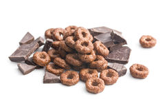 Cereal rings and chocolate Royalty Free Stock Photos