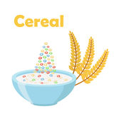Cereal rings, with ears of wheat. Milk in oatmeal breakfast. Organic muesli. Flat vector style Stock Photos