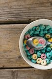 Cereal rings soaked in milk Stock Photo