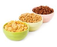 Cereal seco da variedade, flocos para o café da manhã fotografia de stock