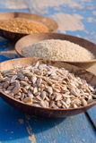 Cereal seeds in bowls Royalty Free Stock Photos
