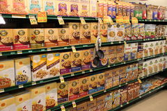 Cereal on Shelves in Grocery Store. Grocery Store Cereal Shelves. Healthy Breakfast Stock Images