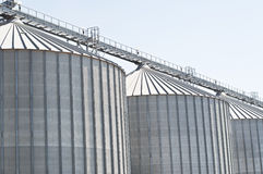 Cereal silos under the blue sky. Royalty Free Stock Images