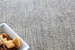 Cereal in square bowl. Cereal in narrow bottom square bowl Royalty Free Stock Photo