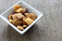 Cereal in square bowl. Cereal in narrow bottom square bowl Royalty Free Stock Images