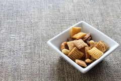 Cereal in a square bowl. Cereal in narrow bottom square bowl Stock Photography