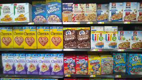 Cereal on store shelves Royalty Free Stock Image