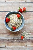 Cereal and strawberries in a bowl Royalty Free Stock Photos