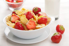 Cereal with strawberry Stock Photography