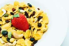 Cereal with strawberry and mixed nut Royalty Free Stock Images