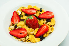 Cereal with strawberry and mixed nut Stock Photography