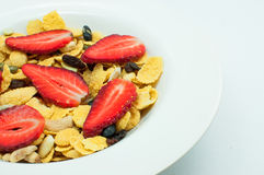 Cereal with strawberry and mixed nut Stock Photos
