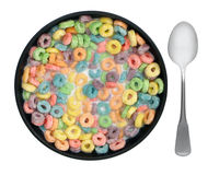 Cereal three. Breakfast bowl of cereal with spoon on a white background Royalty Free Stock Image