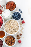 Cereal and various delicious ingredients for breakfast on white Royalty Free Stock Photos