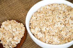 Cereal in white bowl with spoon Royalty Free Stock Photo