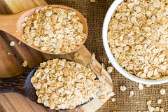 Cereal in white bowl with spoon Royalty Free Stock Photos