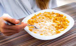 Cereal in a white plate with milk Royalty Free Stock Photography