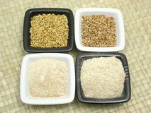 Cereal and wholemeal on rattan mat Royalty Free Stock Photo
