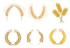 Cereal wreaths. Set of cereal wreaths as an agriculture concept vector illustration