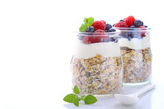 Cereal with yogurt and berries. Healthy breakfast - cereal with yogurt and berries stock image