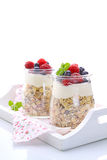 Cereal with yogurt and berries. Healthy breakfast - cereal with yogurt and berries royalty free stock photo