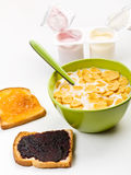Cereal, Yougurt and Two Toasts with Jam Stock Photos