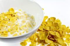 Cereale al forno con latte Fotografia Stock