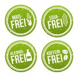 Cereale bollo libero senza alcool e di coffeine liberano, della soia libera, - Maisfrei, Sojafrei, und Koffeinfrei Stempel di Alk Immagini Stock