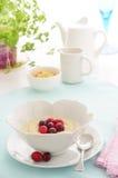 Cereale dei fiocchi di frumento con i mirtilli rossi Immagini Stock
