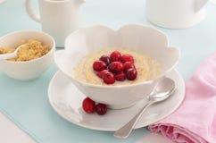 Cereale dei fiocchi di frumento con i mirtilli rossi Fotografie Stock Libere da Diritti