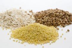 Cereale dell'avena, del grano saraceno e del miglio Fotografia Stock