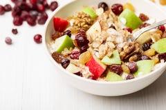Cereale della mela dell'uva passa del mirtillo rosso Fotografia Stock