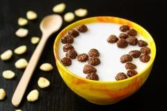 Cereale della palla del cioccolato dello spuntino del pranzo della prima colazione con latte Immagini Stock Libere da Diritti