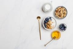 Cereale dello spazio libero con l'avena, il latte, i mirtilli e la disposizione piana del miele immagini stock libere da diritti