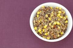Cereale giallo e ricetta rossa della quinoa Fotografia Stock