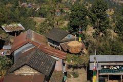 Cereale immagazzinato davanti ad una fattoria nel Nepal Immagine Stock Libera da Diritti