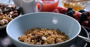 Cereales de desayuno que caen en un cuenco con las bayas y las frutas secas almacen de metraje de vídeo