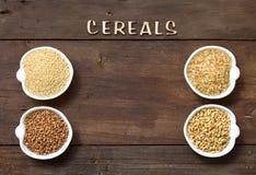 Cereales en frontera de los cuencos con los cereales de la palabra Imagenes de archivo