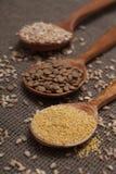Cereales en las cucharas de madera Imagenes de archivo