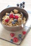 Cereali con i mirtilli ed i lamponi Fotografie Stock