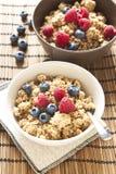 Cereali con i mirtilli ed i lamponi Immagini Stock