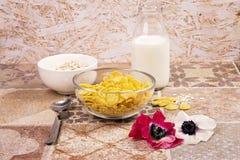 Cereali con la bottiglia di latte e dei fiori Fotografia Stock