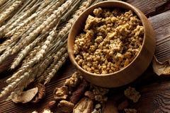 Cereali destinati all'alimentazione sani con i frutti ed i dadi Fotografia Stock Libera da Diritti