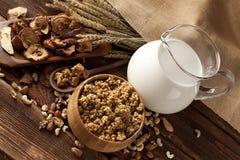 Cereali destinati all'alimentazione sani con i frutti ed i dadi Immagine Stock Libera da Diritti