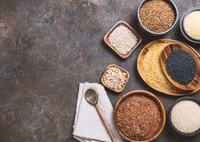 Cereali diversi e semi Fotografia Stock