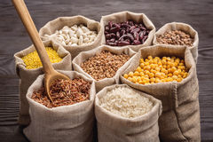 Cereali e fagioli in borse Fotografia Stock