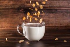 Cereali in tazza di latte fotografia stock