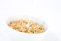 Cereals. Photo of the cereals with running milk on them Royalty Free Stock Photo