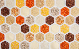 Cereals. Hexagons with different varieties of cereals Royalty Free Stock Photography